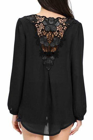 Casual Lace Panel Long Sleeve Surplice Blouse - Black