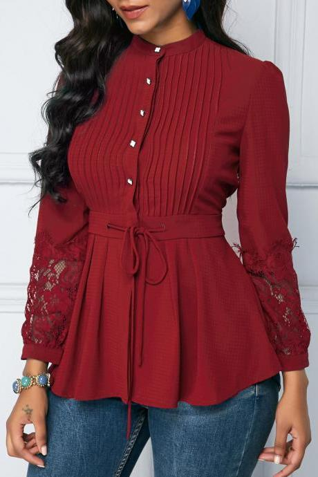 Lace Panel Crinkle Chest Peplum Blouse - Red