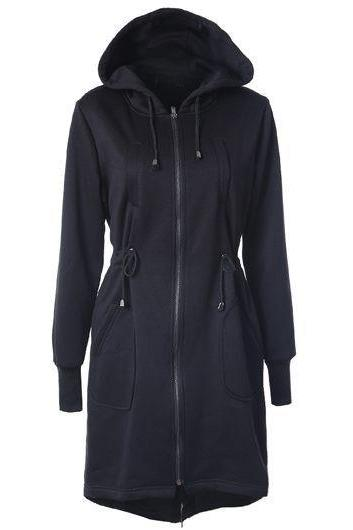 High Quality Drawstring Waist Hooded Collar Dark Long Sweat - Black