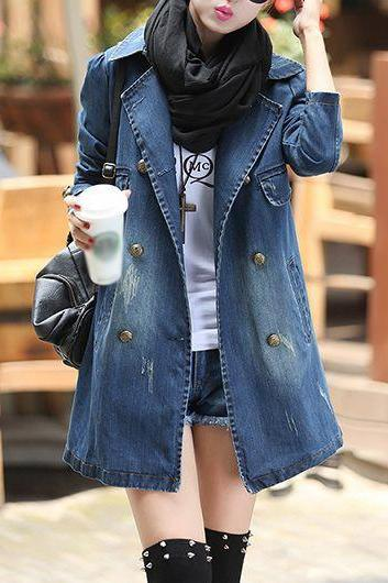 High Quality Notch Collar Double Breasted Denim Trench Coat