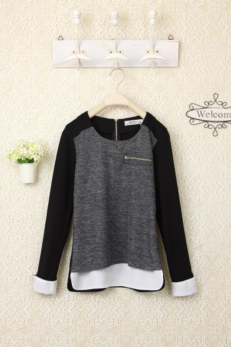 Fashion New Style O Neck Chiffon Long Sleeve Sweater