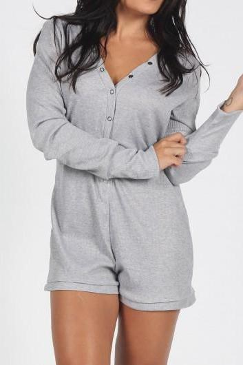 Fashion Long Sleeve Grey V Neck Rompers