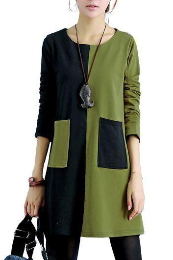 Casual Round Neck Green and Black Patchwork Dress