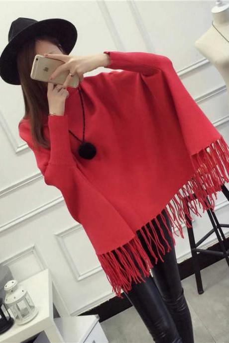 High Quality New Casual Turtleneck Batwing Sleeve Sweaters - Red