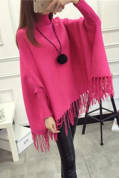 High Quality New Casual Turtleneck Batwing Sleeve Sweaters - Rose