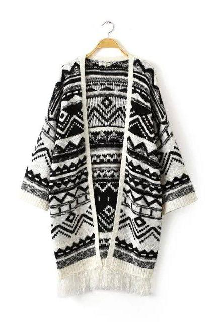New Causal Tassels Decorated Collarless Cardigan (2 Colors)