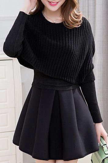 Fashion Top and Pleated Mini Sweater Dress - Black