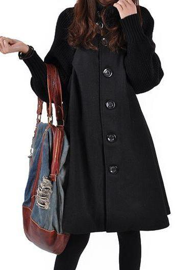 High Quality Button Closure Long Sleeve Swing Coat - Black