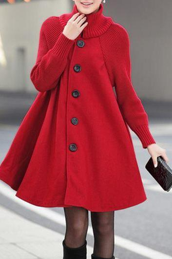 High Quality Button Closure Long Sleeve Swing Coat - Red