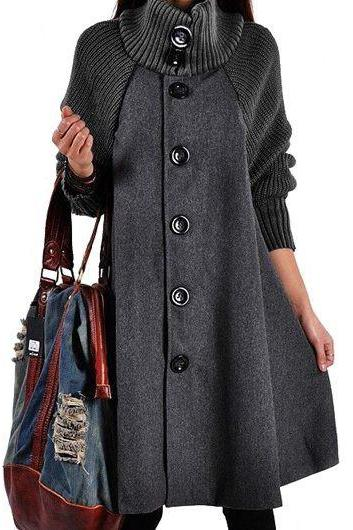 High Quality Button Closure Long Sleeve Swing Coat - Grey