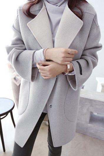 Causal Long Sleeve Pocket Design Light Grey Coat