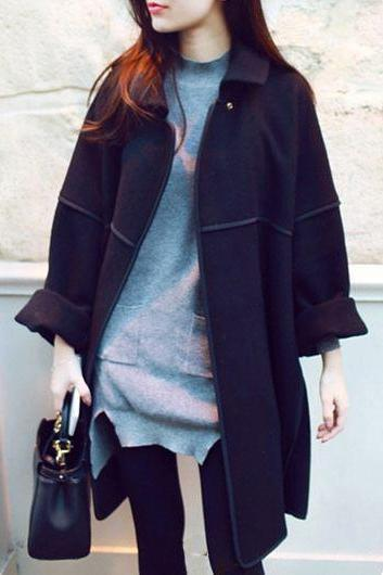 Causal Batwing Sleeve Turndown Collar Black Coat