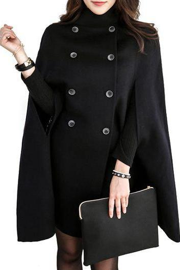 Causal Double Breasted Solid Cloak Long Coat - Black