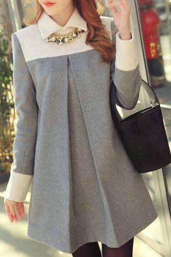 Causal Turndown Collar Long Sleeve Grey Straight Dress