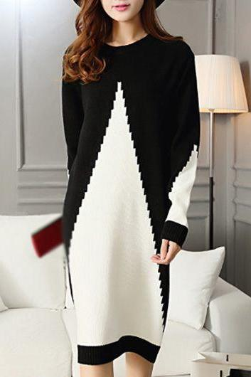 Fashion Long Sleeve Patchwork Design Sweater Dress - Black