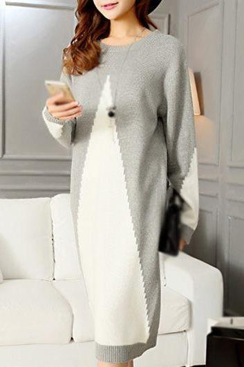 Fashion Long Sleeve Patchwork Design Sweater Dress - Grey