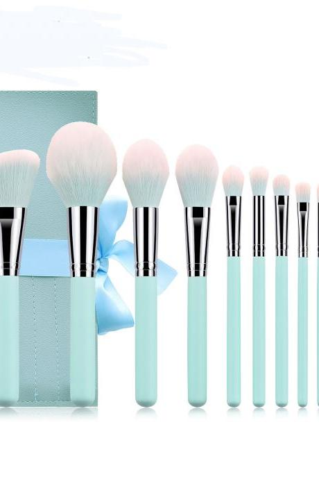 New Light Blue 12Pcs Makeup Brushes Set