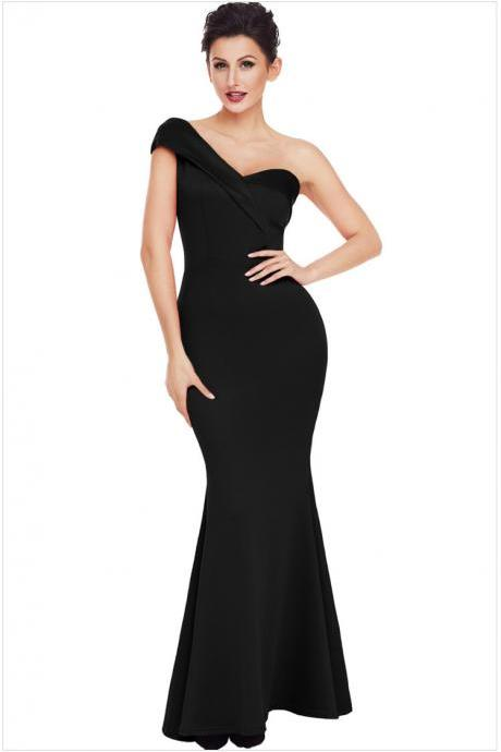 High Quality One Shoulder Elegant Maxi Dress - Black