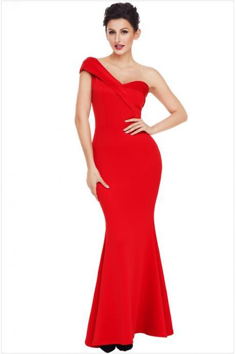 High Quality One Shoulder Elegant Maxi Dress - Red