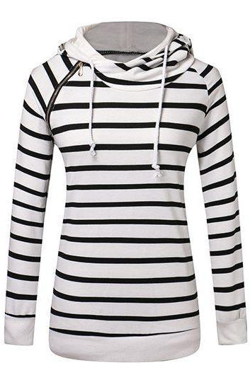 Fashion Hooded Collar Zipper Design Striped Pullover Sweatshirt - White