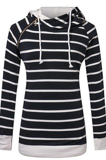 Fashion Hooded Collar Zipper Design Striped Pullover Sweatshirt - Black