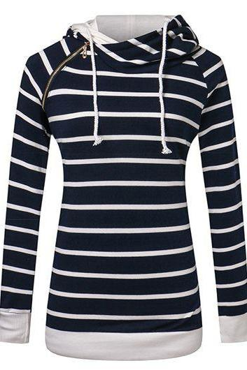 Fashion Hooded Collar Zipper Design Striped Pullover Sweatshirt - Navy Blue