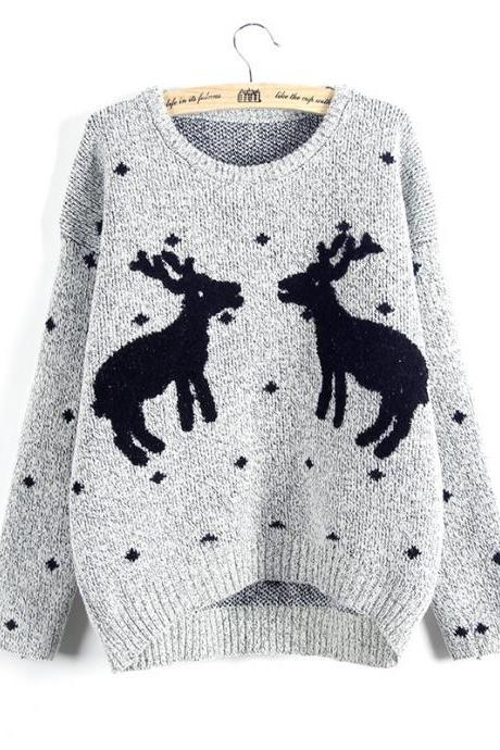 Cute And Fashion Two Giraffes Pullover Sweater - Grey