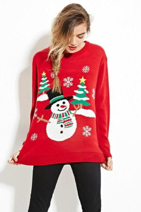 High Quality Cute Red Chirstmas Pullover Sweater