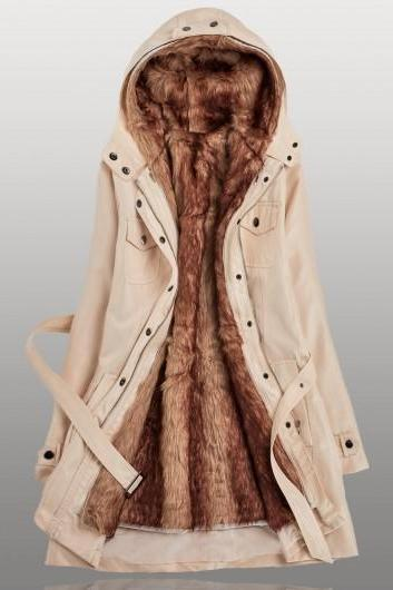 High Quality Hooded Collar Long Sleeve Belted Parka Coat For Women - Beige