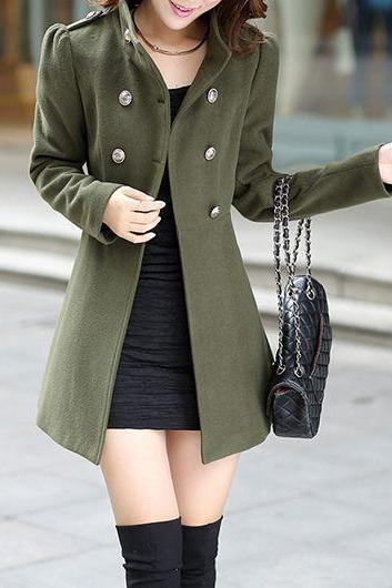 Good Quality High Neck Double Breasted Back Belt Coat- Arm Green