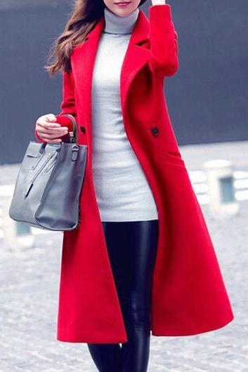 Fashion Long Sleeve Turndown Collar Pocket Design Coat - Red