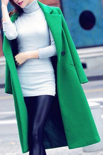 Free Shipping Fashion Long Sleeve Turndown Collar Pocket Design Coat - Green