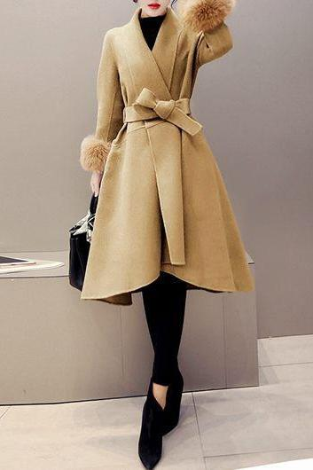 High Quality Long Sleeve Asymmetric Hem Faux Fur Decorated Coat - Light Tan