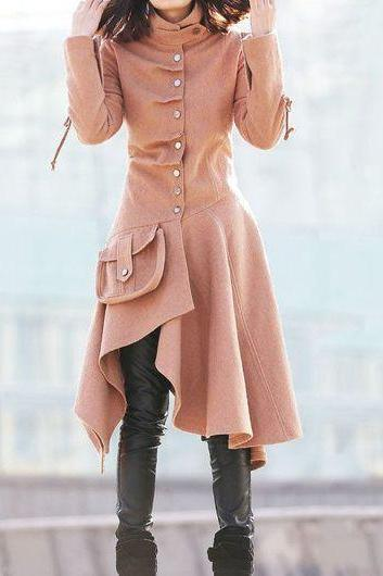 High Quality Pink Asymmetric Hem Long Sleeve Button Closure Coat