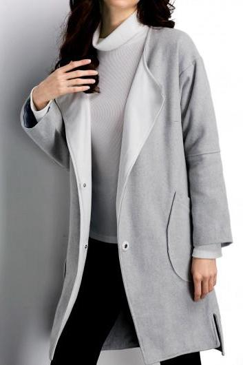 High Quality Long Sleeve Pocket Design Light Grey Coat