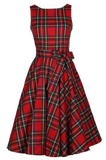 Red Plaid Knee Length A-Line Dress Featuring Sleeveless Bodice with Jewel Neckline and Bow Accent Belt