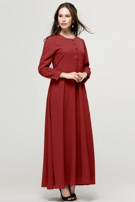 Free Shipping Vintage Long Sleeve Chiffon Dress - Red
