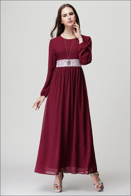 High Quality Vintage Chiffon Long Sleeve Dress - Wine Red