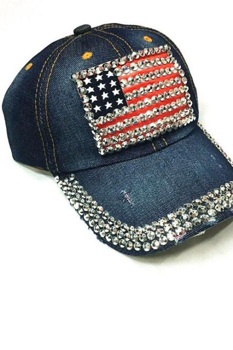 Free Shipping The American flag diamond Baseball Cap Hat