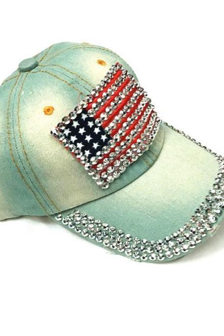 Free Shipping The American flag diamond Baseball Cap Hat For Women - Light Blue