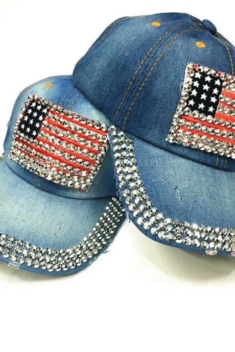 The American flag diamond Baseball Cap Hat For Women With No Shipping Fee