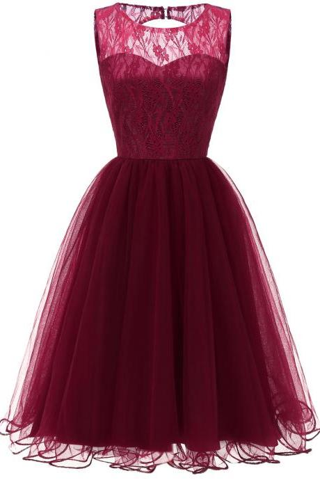 Lace Patchwork Women Vintage Dress Autumn Summer Sleeveless Hollow Party Dress - Wine Red