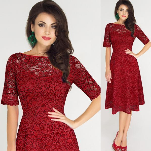 Elegant and Fashion Mid Sleeve Lace A-Line Dress - Red