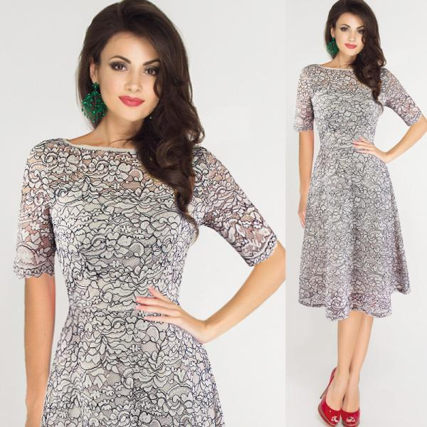 Elegant and Fashion Mid Sleeve Lace A-Line Dress -Grey