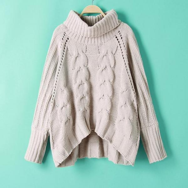 Fashion High-necked Sweater For Women - Light Grey