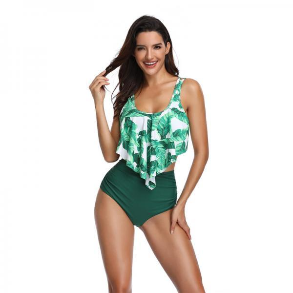 Women's bikini set Lotus leaf Swimsuit print floral swimwear high waist swiming suits - Green