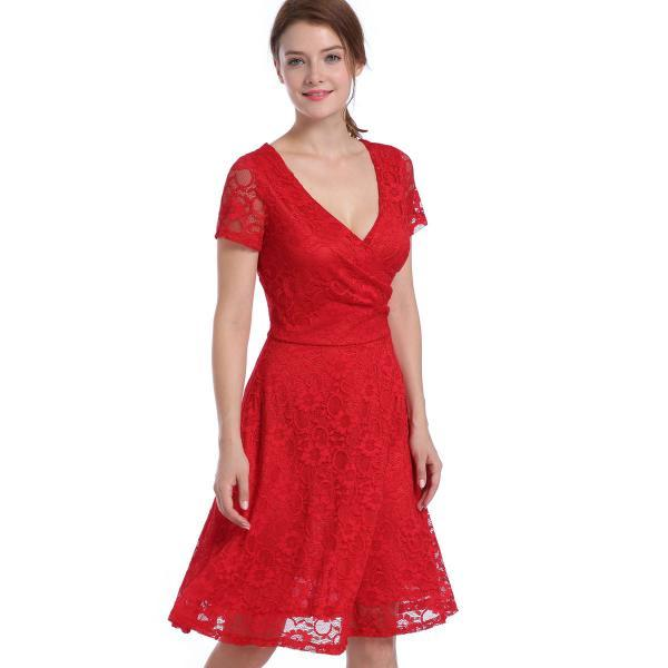 Sexy and Fashion V Neck Short Sleeve Hollow Lace Dress - Red