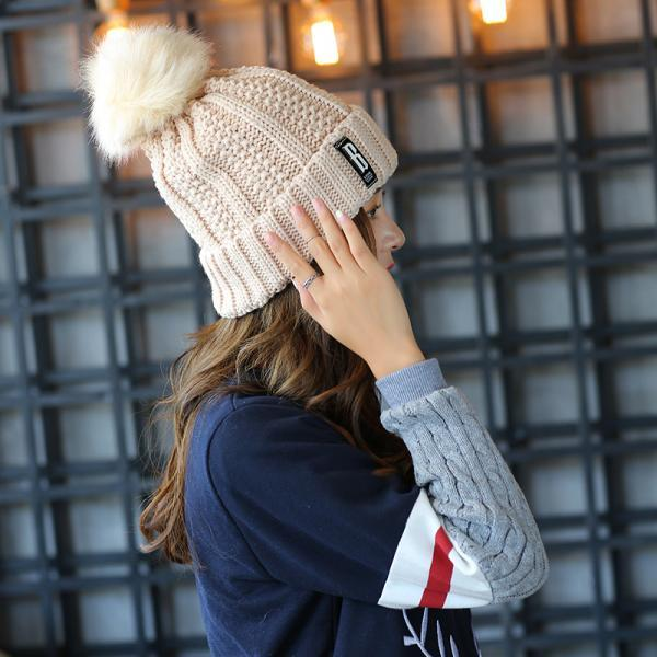 Free Shipping Super Cute Hat Knit Cap For Winter - Beige