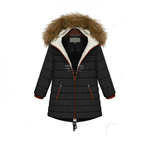 High Quality Women Fur Hat Long Sleeve Lambswool Coat For Winter - Black