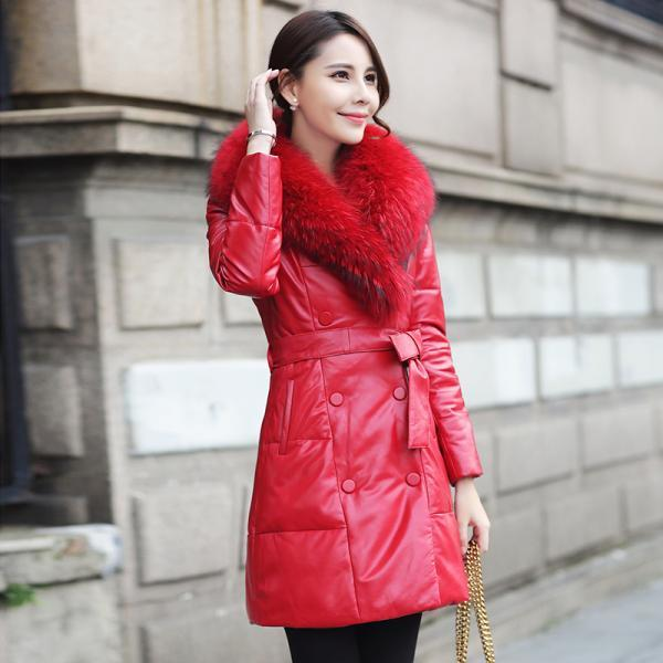 High Quality Red Fur Collar Leather Down Coat